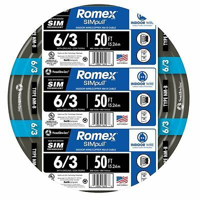 50-ft Roll 6-3 Awg Nm-b Gauge Indoor Electrical Copper-wire Ground Romex Cable