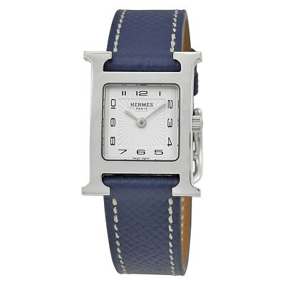 Hermes H Hour Ladies Blue Grained Leather Watch 039422WW00