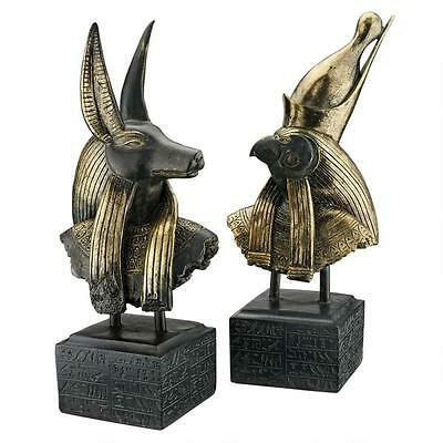 Set of 2: Ancient Egyptian God Anubis & Horus on Hieroglyph Plinth Statue
