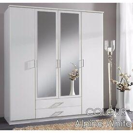 WHITE WARDROBE 4 DOOR ***OSAKA 3 / 4 DOOR WARDROBE AVAILABLE IN WALNUT & WHITE COLOR - CALL NOW