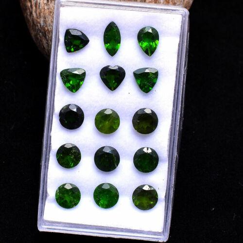 15 Pcs Natural Chrome Diopside Stunning Vivid Green Loose Gemstones Lot ~6mm-8mm