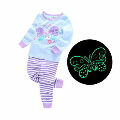 Glow In The Dark Girls Pajamas (Pajamas for Girls Butterfly Glow in the Dark 100% Cotton Sizes 2T - 7T)