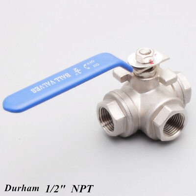 12 3 Way Ball Valve Three T Port Npt Stainless Steel 316 1000psi Water Oil Gas