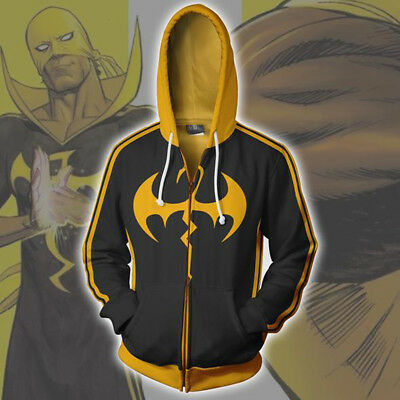 Super Hero Iron Fist 3D Printing Hoodie Sweatshirts Cosplay Jacket Hooded Coat - Iron Fist Cosplay Kostüm