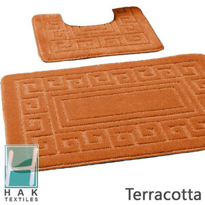 New Greek Style 2 Piece Bath Mat Set Non-Slip 13 Colours