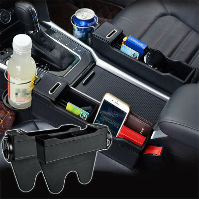 2x Leather Car Storage Box Formerly larboard / Right Seat Gap Catcher Cup Phone Organizer Bag
