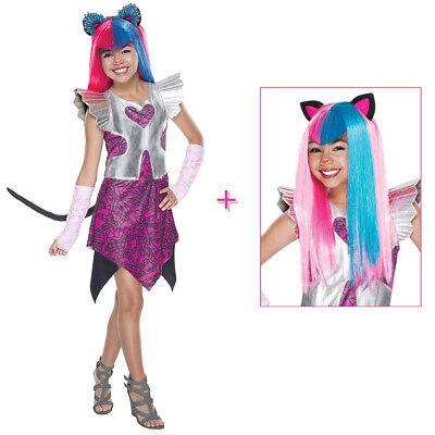 CATTY NOIR KATZEN KOSTÜM & PERÜCKE Karneval Mädchen Kinder Monster High (Mädchen Kostüm Monster High)