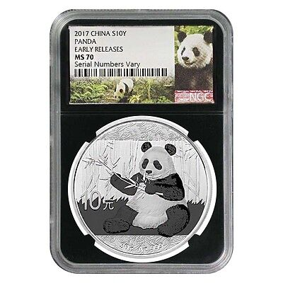 2017 30 Gram Chinese Silver Panda 10 Yuan Ngc Ms 70 Early Releases  Retro