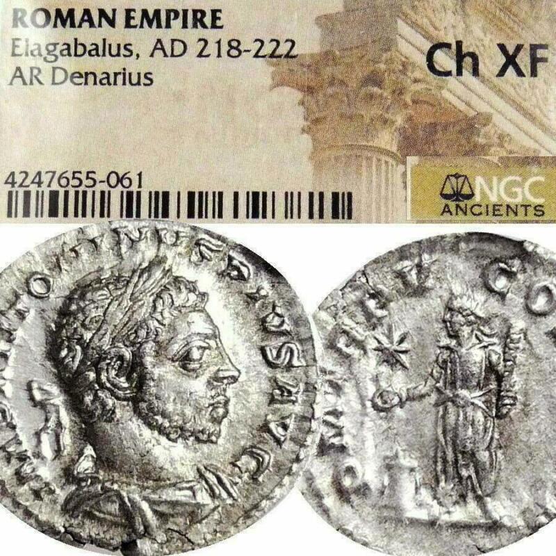 ELAGABALUS NGC Choice XF Rare Last Coin Ancient Roman Imperial Silver Denarius