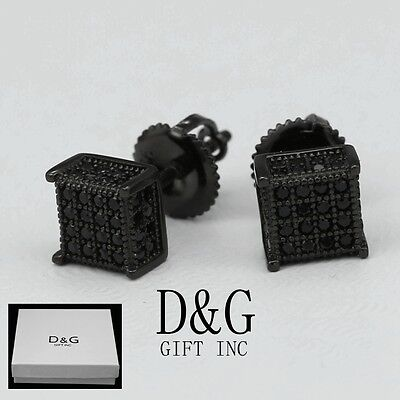 DG Men's Sterling-Silver 925.Black Ice-Out 6mm Square Studs Earring Unisex,,Box Black Stud Earring Box