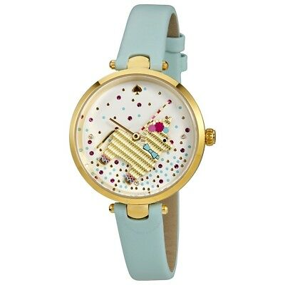 KATE SPADE HOLLAND PINATA WHITE DIAL BLUE LEATHER STRAP LADIES WATCH KSW1329 NEW
