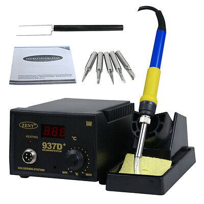 937d Smd Soldering Hot Iron Station Digital Adjustable W 5 Tips Japan Heater