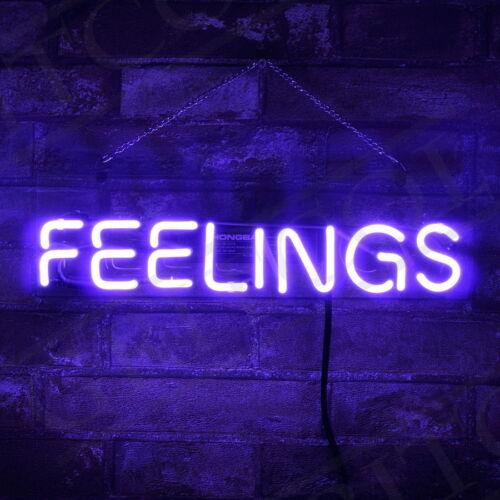 """FEELING"" Purple Neon Sign Gift Beer Decor Boutique Porcelai"