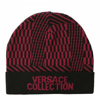 NEW MENS LUXURY GIANNI VERSACE COLLECTION WOOL BEANIE HAT BLACK / VIOLET RRP £95