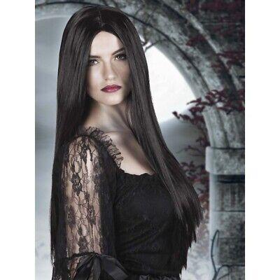 LANGE SCHWARZE PERÜCKE # Langhaarperücke Hexen Vamp Gothic Kostüm Zubehör - Lange Schwarze Perücke Kostüm