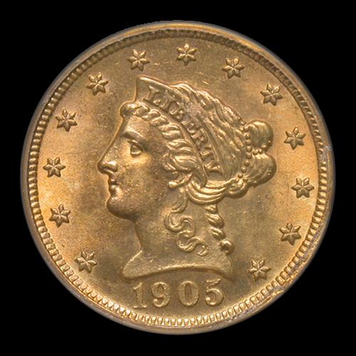 1905 $2.50 LIBERTY GOLD QUARTER EAGLE MS-63 PCGS - SKU#40948