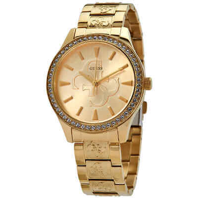 Guess Anna Quartz Champagne Logo Dial Ladies Watch W1280L2 Guess Logo Dial Watch
