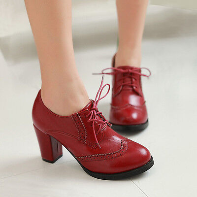 (Oxfords High Block Heels Womens Wingtip Lace Up Pumps Brogues Retro Shoes Plus)