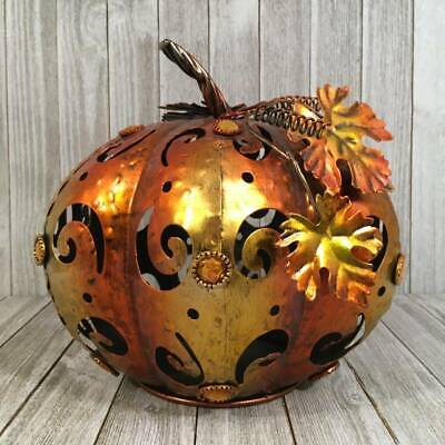 Harvest Fall Rustic Metal Pumpkin Punched Cut Out Jewels Coppery Table Decor NWT