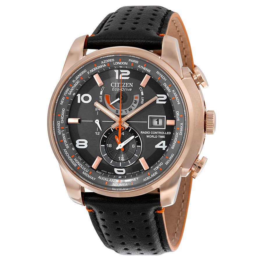 $250.00 - NEW MENS CITIZEN ECO-DRIVE (AT9013-03H) WORLD TIME A-T ROSE GOLD LEATHER WATCH