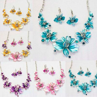 Beautiful Enamel Rhinestone Flower Pendant Necklace Earring Set