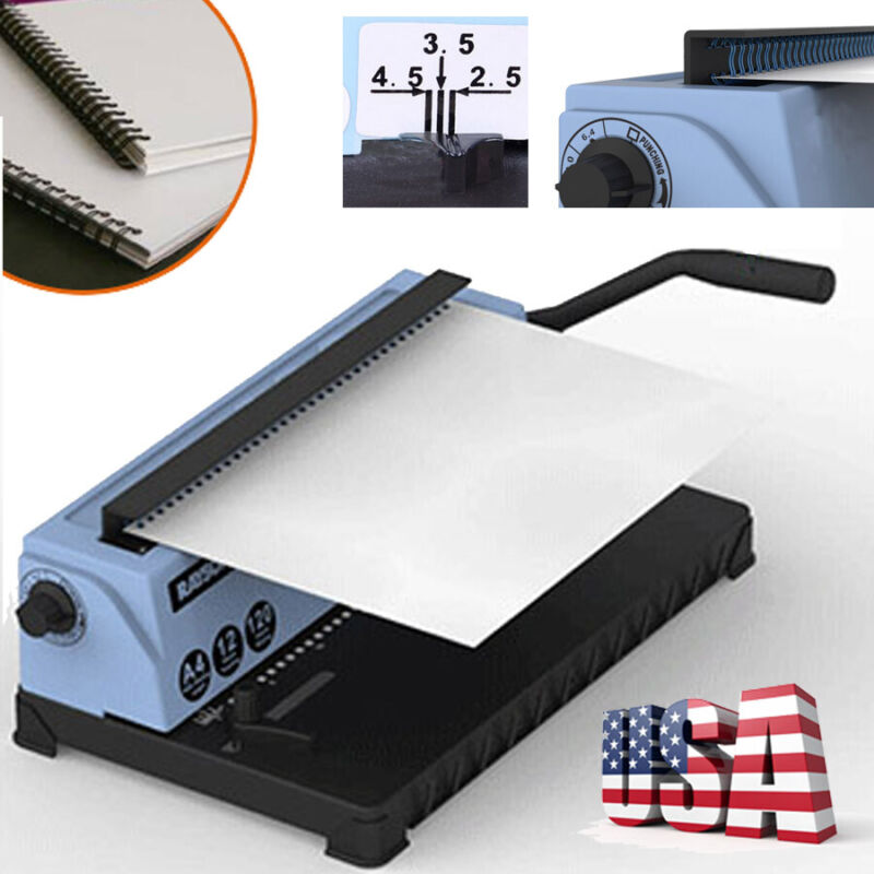 34Holes Manual Punching Binding Machine Steel Spiral Coil Binder for 120 Pages
