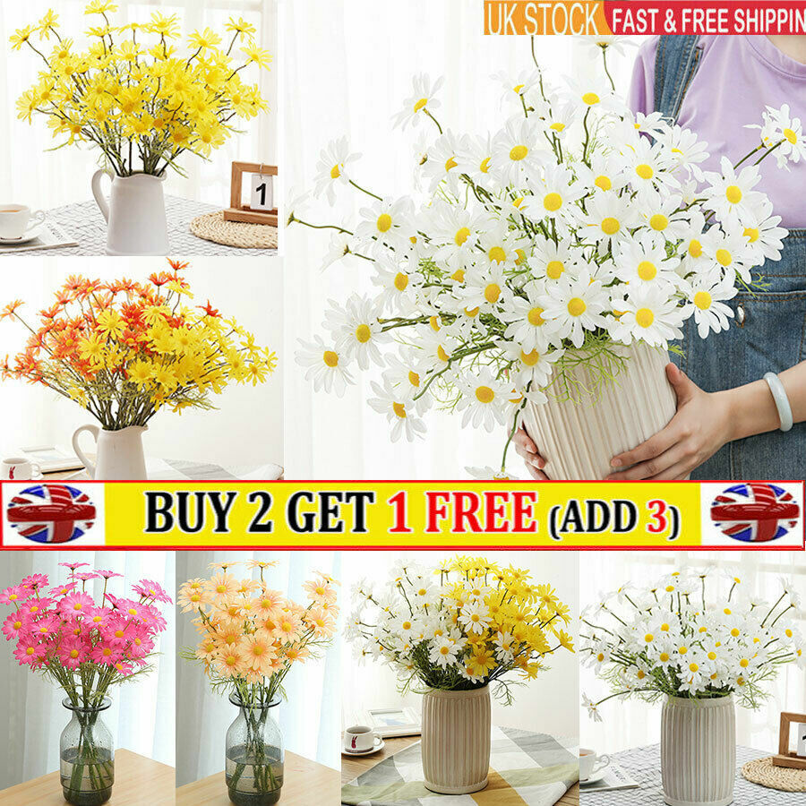 Home Decoration - Real Touch Daisy Artificial Silk Fake Flowers Home Table Decor Party Wedding