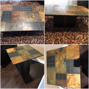 African marble coffee table and 2 side tables
