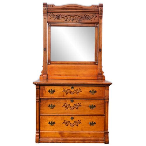 Antique Eastlake Victorian Birds Eye Maple Farmhouse Country Mirrored Dresser