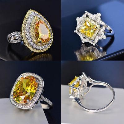 Luxury Princess Cut Citrine Gemstone Ring 925 Silver Women Wedding Party Jewelry