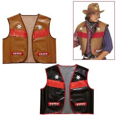 HERREN COWBOYWESTE Karneval Western Cowboy Sheriff Weste Kostüm Fest Verkleidung