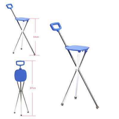 Folding Lightweight Aluminium Cane with Seat Mobility Walking Stick tripod stool