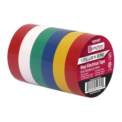 Electrical Tape Vinyl Color Coded Excellent Insulation Properties 6rolls