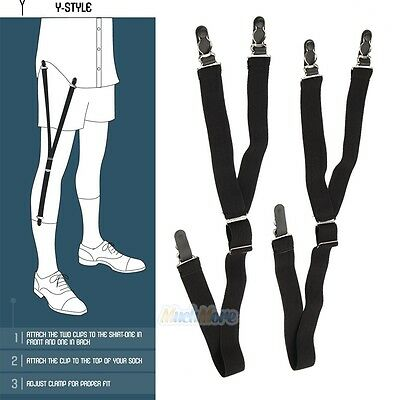 (2 Pack) Black  Y Style Sock Garters Unifrom Shirt Stays Holders Fasteners