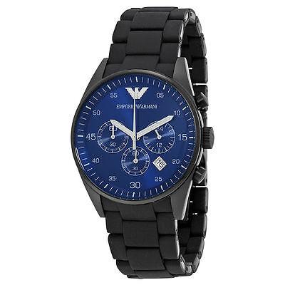 New Emporio Armani Ar5921 Mens Chronograph Black And Blue Dial Watch