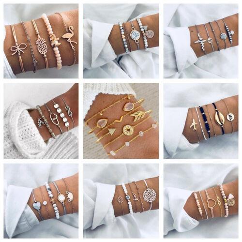 Jewellery - Boho Style Multilayer Crystal Bracelet Bangle Women Girls Wrist Jewellery Set