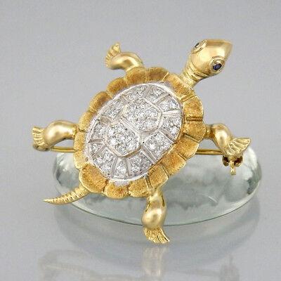 Brosche Schildkröte Diamantenbesatz + Saphir 585/14k Weiß-Gelbgold