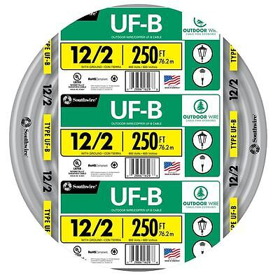 250 Roll 12-2 Awg Uf-b Gauge Outdoor Burial Electrical Feeder Copper Wire Cable