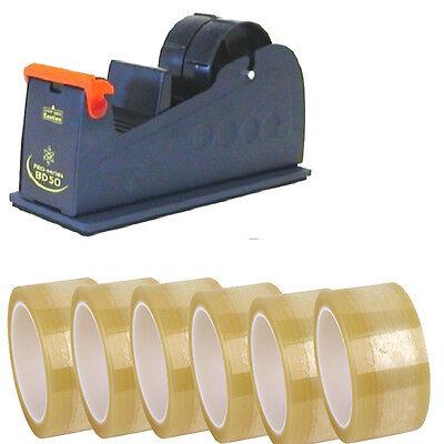 6X CLEAR PACKING TAPE ROLLS + 1X HEAVY DUTY DESKTOP TAPE METAL DISPENSER 48mm
