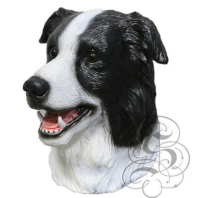 Border Collie Halloween Costume (Latex Full Head Animal Border Collie Dog High Quality Fancy Props Carnival)