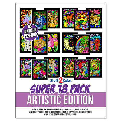 Super Pack of 18 Fuzzy Velvet 8x10 Inch Posters (Artistic Edition) - Velvet Coloring Posters