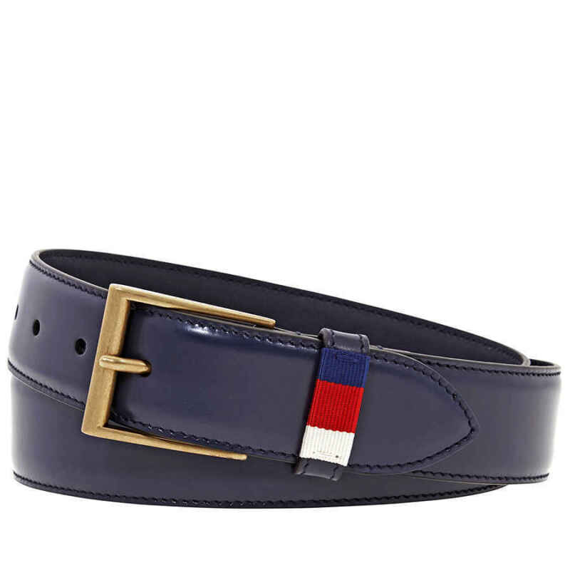 Gucci Men Leather Belt with Red/Blue Web