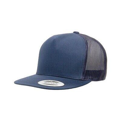 Flat bill Trucker Cap Mesh back Hat Snap back  SNAPBACK Yupoong Navy (Yupoong Flat)