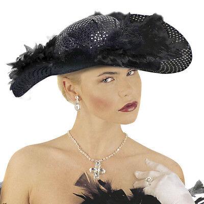 SCHWARZER PAILLETTEN HUT # 20er 30er 40er Jahre Lady Damen Karneval Kostüm Party