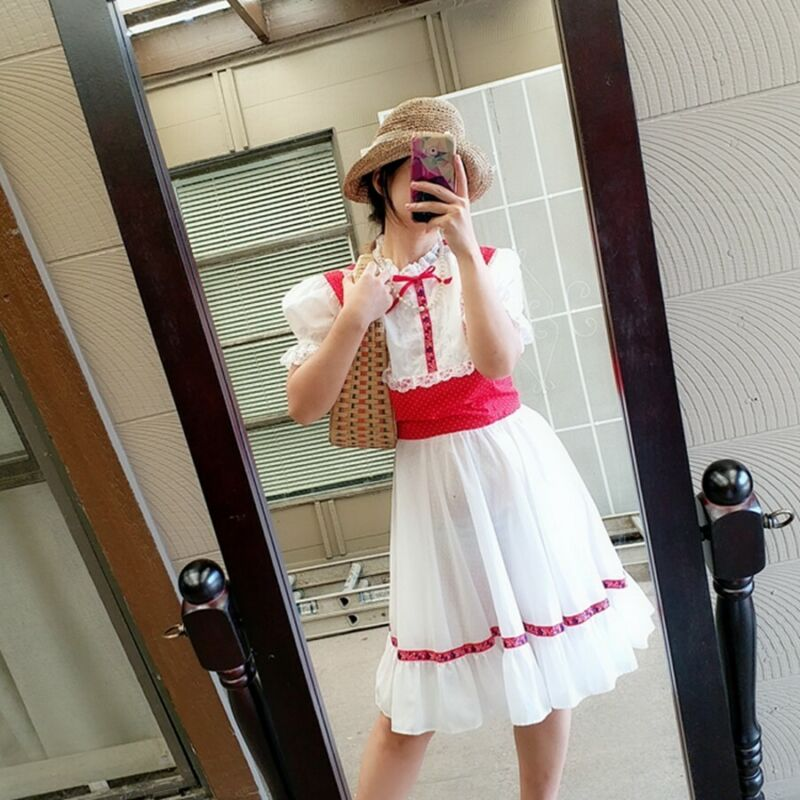Beautifu Red lace trim polka dot Square Dance Dress