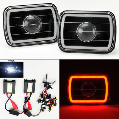 "7X6"" 8K HID Xenon H4 Black Projector Glass CCFL Red Halo Headlight Pair Jeep"