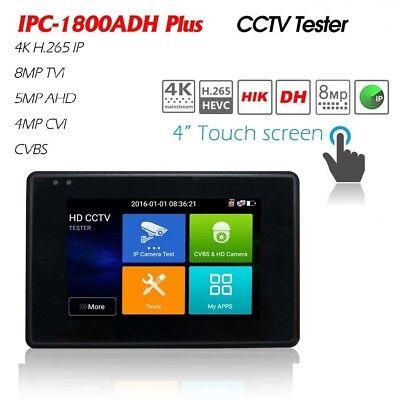4inch Ipc-1800adh Plus 4k Poe Cctv Camera Tester Cvi Tvi Ahd Cvbs Ip 5in1 H.265