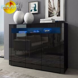 Black High Gloss Modern Cabinet Sideboard Cupboard 130cm Buffet with 3 Doors - RGB LED Lights