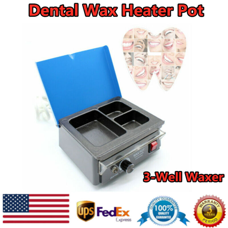 Dental Analog Paraffin Heater 3-Well Melting Heating Dipping Pot Lab Equipment