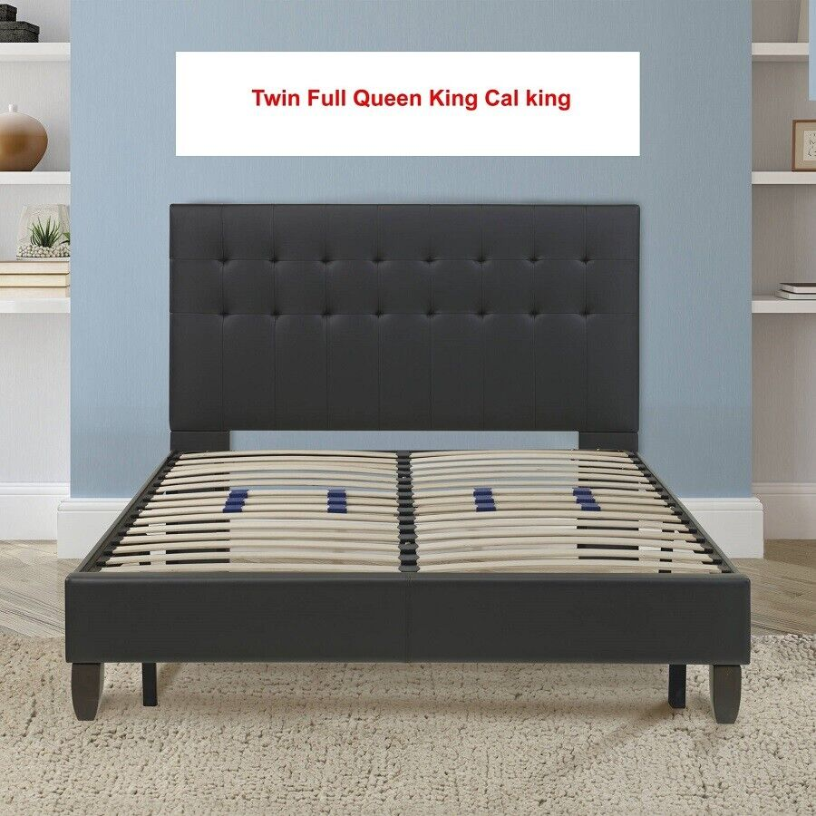 Platform  Bed Frame Metal Base Foundation Cal King King Quee